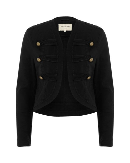 River Island | Black Gold Tone Button Military Jacket | Lyst