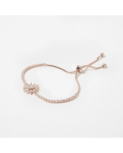 River Island | Multicolor Rose Gold Tone Diamante Lariat Bracelet | Lyst