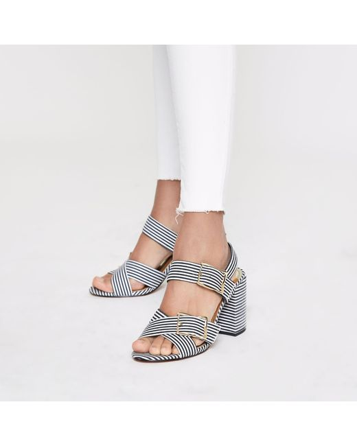 be461553004 River Island Stripe Two Part Block Heel Sandals in Black - Save 44 ...