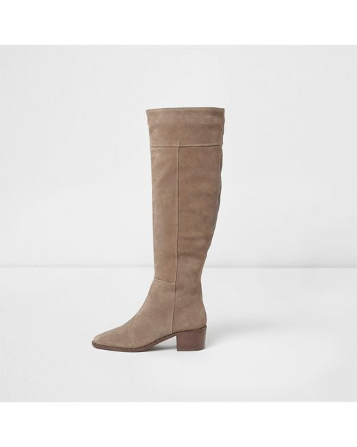 River Island - Natural Suede Studded Knee High Suede Boots - Lyst