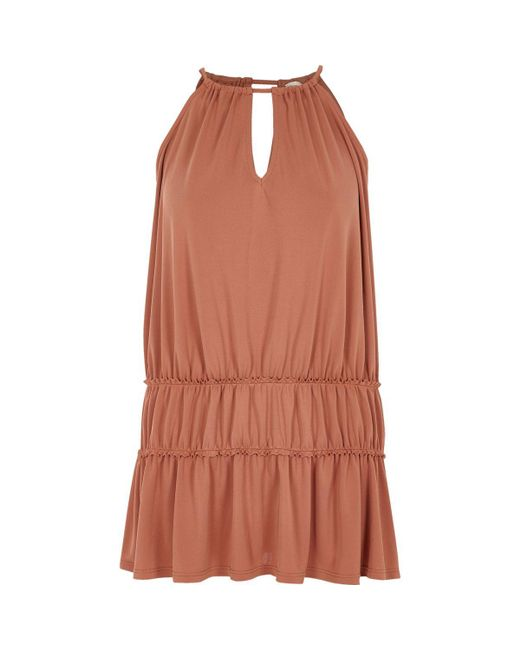 River Island | Dark Orange Ruched Trapeze Cami Dress | Lyst