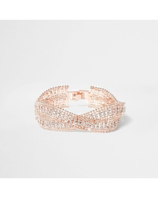 River Island - Pink Rose Gold Tone Wavy Double Band Bracelet - Lyst