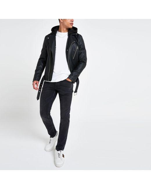 JACK /& JON Mens Biker Faux Synthetic Leather Jacket Short Fashion Coat Black