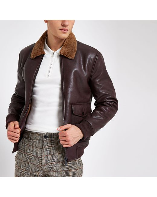 River Island Brown Burgundy Faux Leather Borg Collar Jacket for men