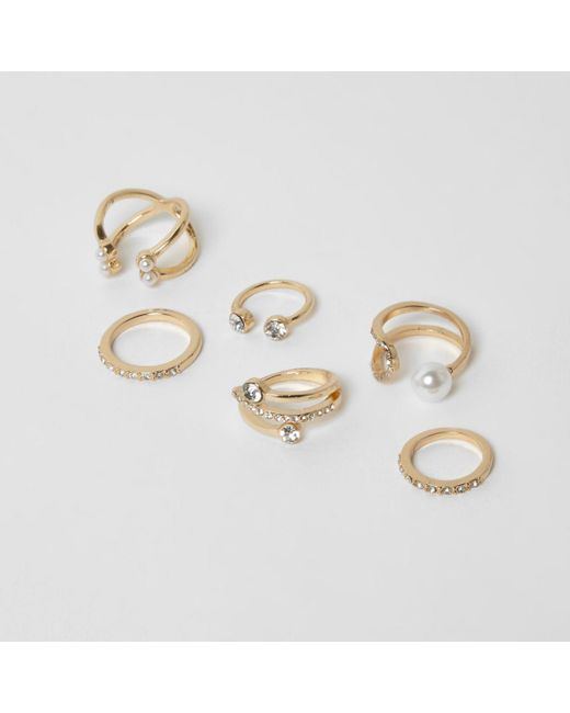 River Island | Metallic Gold Tone Diamante And Peal Ring Pack | Lyst