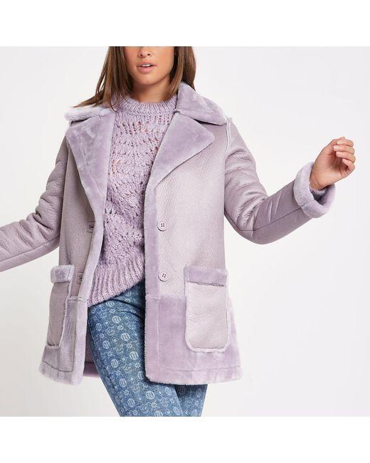 River Island - Light Purple Faux Fur Reversible Coat - Lyst
