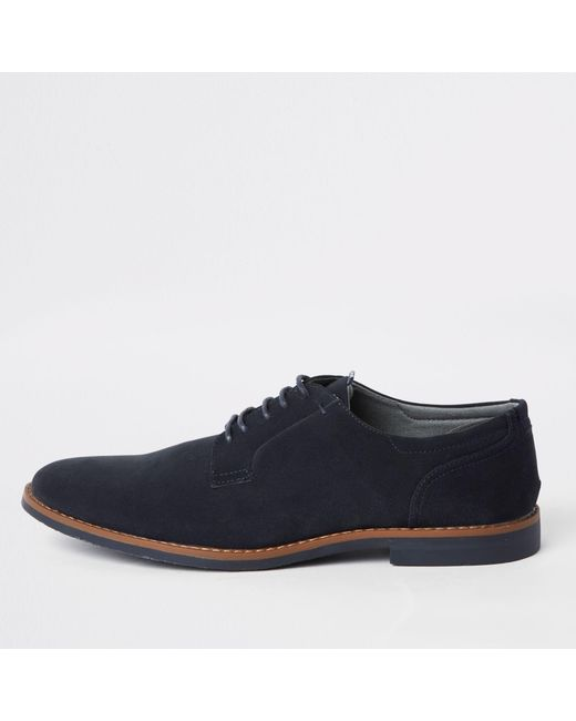d656aa350ba0 River Island - Blue Tumbled Lace-up Derby Shoes for Men - Lyst ...