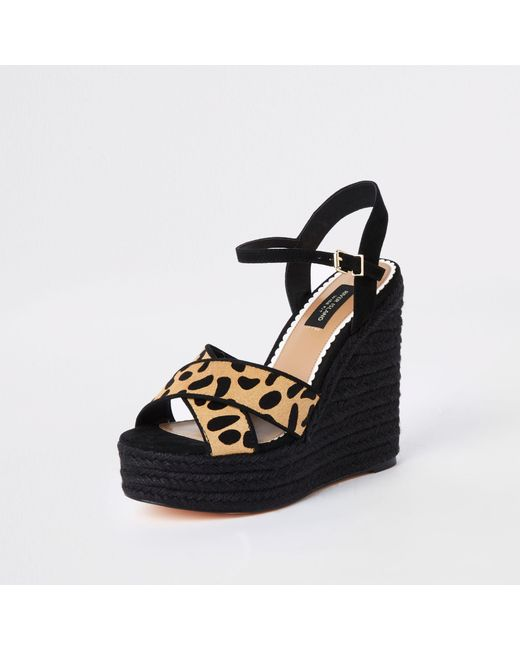 75e5a6ee7c5 ... River Island - Brown Leopard Print Wide Fit Wedges - Lyst