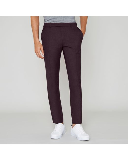 River Island - Black Burgundy Skinny Fit Suit Trousers - Lyst
