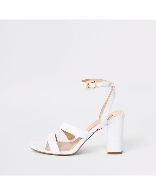 dcdf999935f River Island White Asymmetric Strappy Block Heel Sandals in White - Lyst