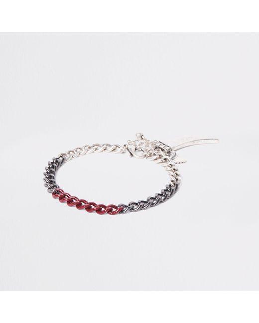 River Island - Metallic Silver Tone Shark Tooth Chain Bracelet for Men - Lyst