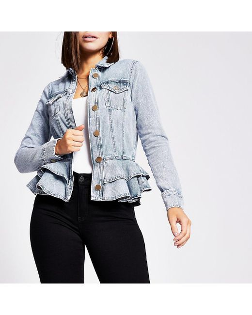 River Island Blue Frill Fitted Denim Jacket