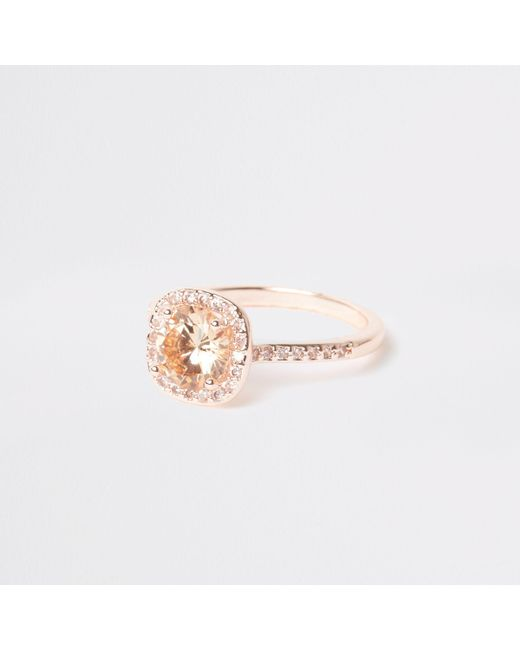 River Island - Pink Rose Gold Tone Square Diamante Pave Ring - Lyst