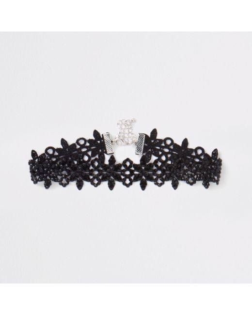 River Island - Black Lace Embellished Choker - Lyst