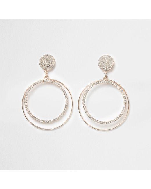 River Island | Metallic Rose Gold Tone Pave Hoop Drop Earrings Rose Gold Tone Pave Hoop Drop Earrings | Lyst