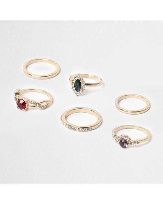 River Island   Metallic Gold Tone Jewel Stone Ring Pack   Lyst