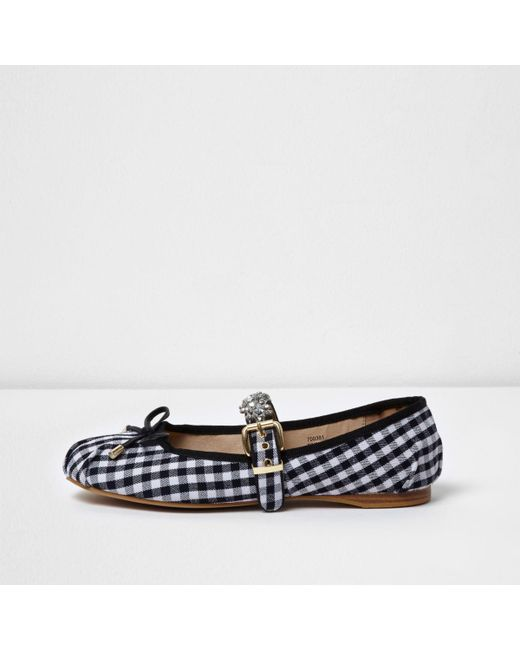 River Island | Blue Navy Gingham Diamante Trim Ballet Pumps | Lyst