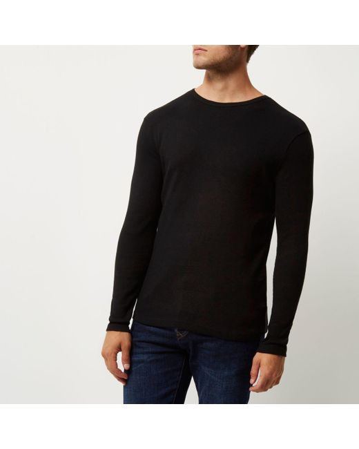 Lyst river island black ribbed slim fit long sleeve t for Ribbed long sleeve shirt