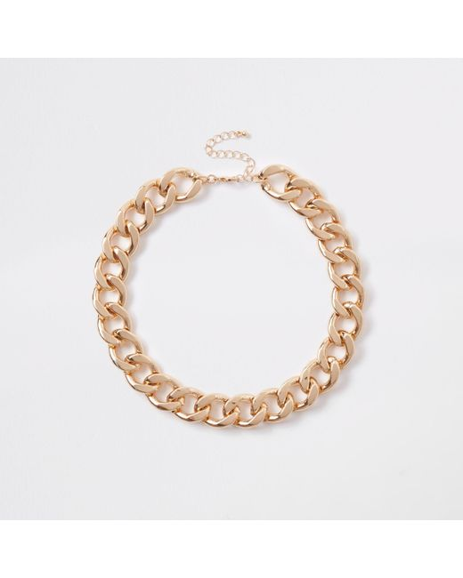 River Island - Metallic Gold Tone Chunky Chain Necklace - Lyst