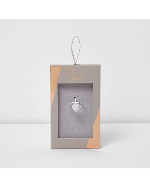 River Island | Metallic Silver Tone Luli Teardrop Jewel Ring | Lyst