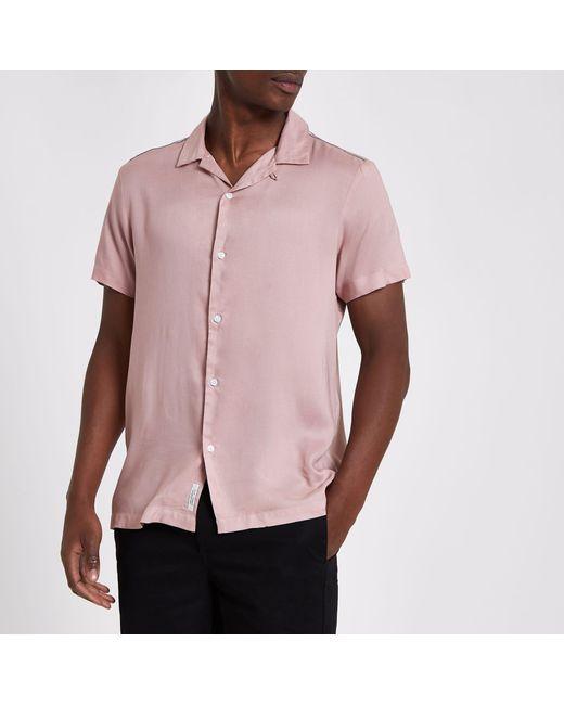 River Island Pink Tape Short Sleeve Shirt for men