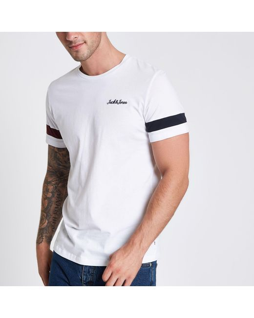 c0bbf669e926 ... River Island - Jack & Jones Originals White Stripe T-shirt for Men -  Lyst