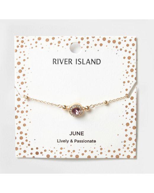 River Island | Purple Gem June Birthstone Bracelet | Lyst