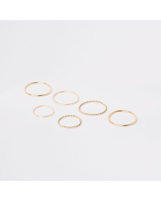 River Island - Metallic Gold Tone Metal Ring Pack - Lyst