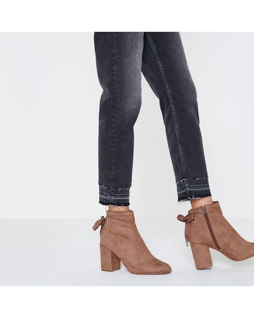 f100057d59f Women's Pink Tie Back Block Heel Ankle Boots