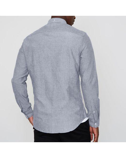 River island light blue slim fit long sleeve oxford shirt for Men oxford slim fit long sleeve shirt