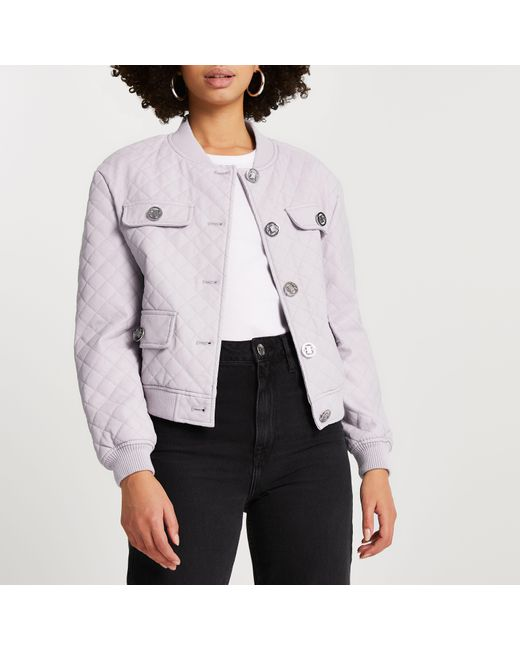 River Island Purple Faux Leather Quilted Bomber Jacket