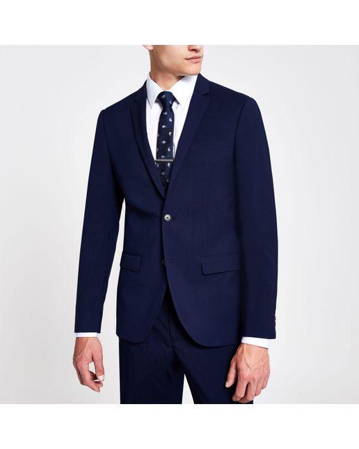River Island Blue Navy Skinny Suit Jacket for men