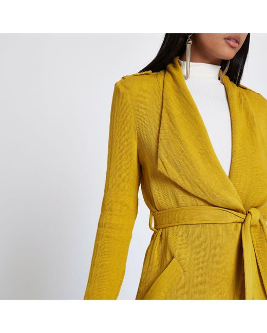 Lyst River Island Mustard Yellow Belted Duster Trench