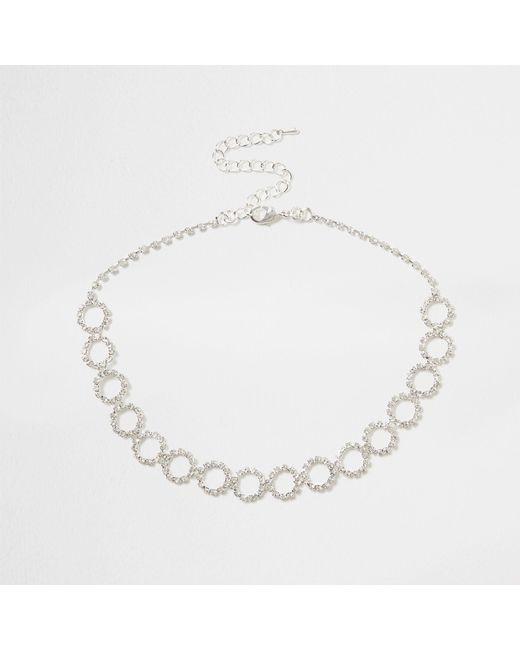 River Island - Metallic Silver Diamante Encrusted Circle Chain Choker - Lyst