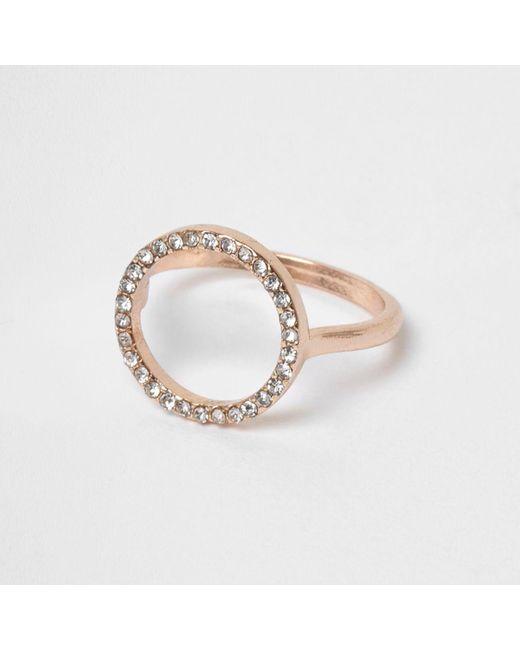 River Island | Metallic Rose Gold Tone Diamante Pave Circle Ring | Lyst