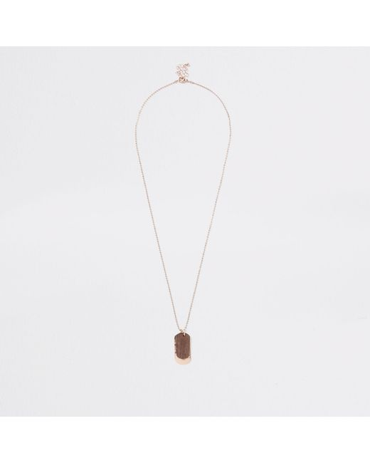 River Island - Metallic Tone Wooden Dog Tag Necklace for Men - Lyst