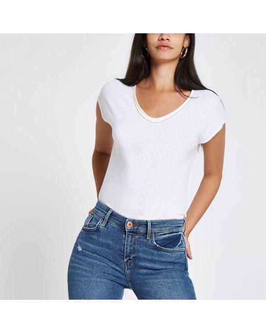 River Island - White Rhinestone Trim V Neck Slouch T-shirt - Lyst