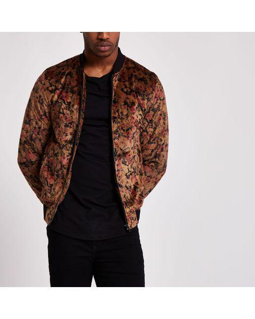 e559289de Men's Black And Gold Floral Velvet Bomber Jacket
