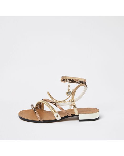 River Island Brown Snake Print Chain Trim Sandals