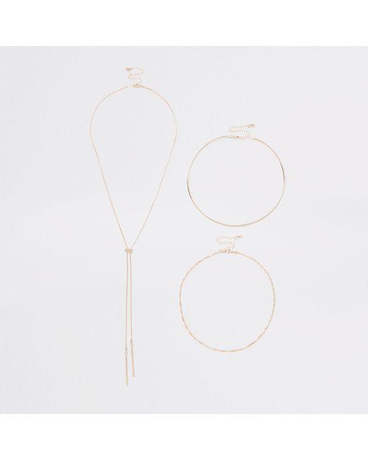 River Island - Metallic Tone Twist Chain Necklace Multipack - Lyst