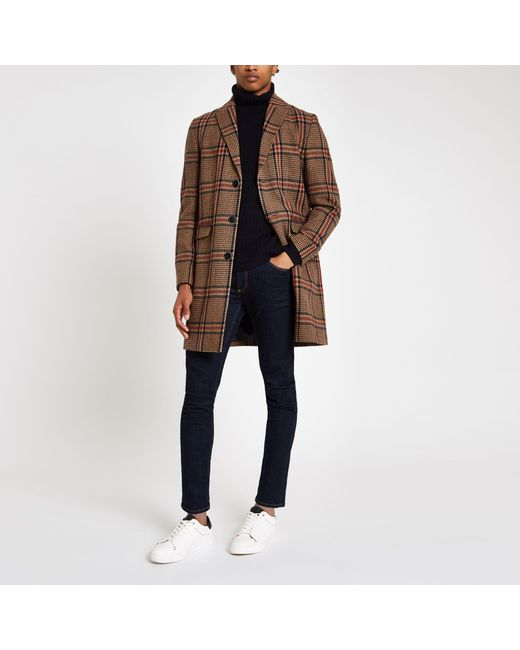 d9d6ad40c5b Men's Brown Check Wool Overcoat