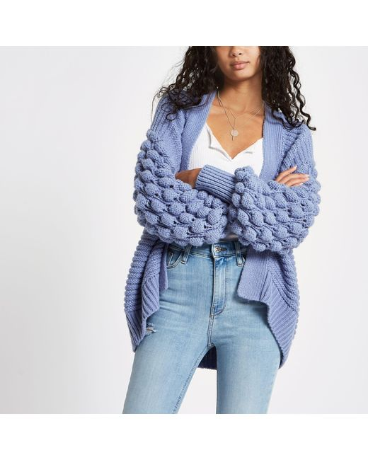 River Island - Blue Bobble Knit Cardigan - Lyst