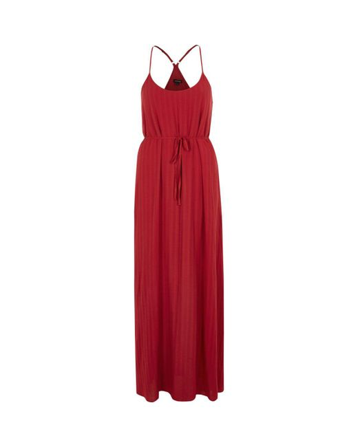 River Island | Dark Red Tie Waist Maxi Slip Dress | Lyst