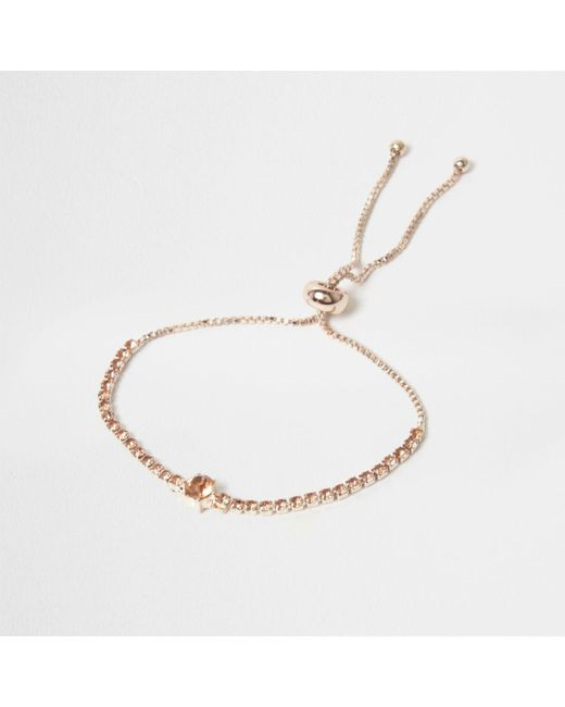River Island | Pink Rose Gold Tone Cup Chain Lariat Bracelet Rose Gold Tone Cup Chain Lariat Bracelet | Lyst