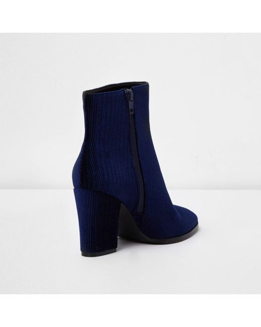 Lyst River Island Navy Corduroy Block Heel Pointed Ankle