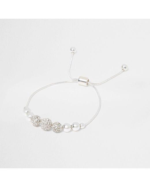 River Island - Metallic Silver Tone Diamante Bead Lariat Bracelet - Lyst