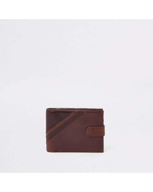 River Island - Brown Leather Stripe Wallet for Men - Lyst
