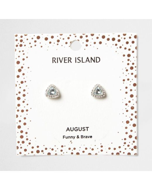 River Island | Green Gem August Birthstone Stud Earrings | Lyst