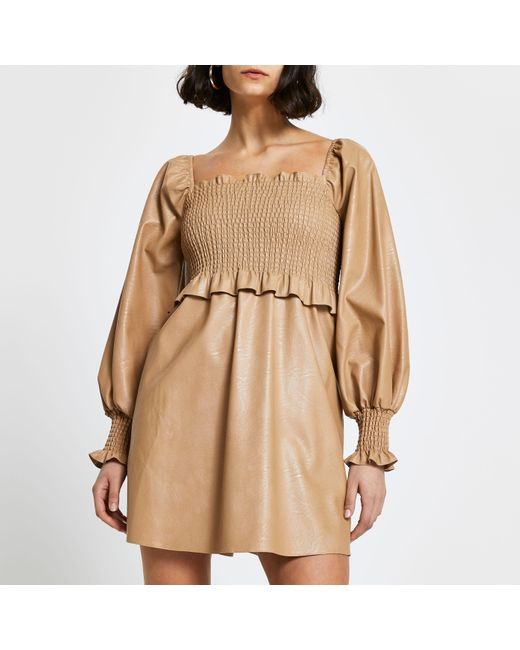 River Island Natural Beige Faux Leather Shirred Mini Dress