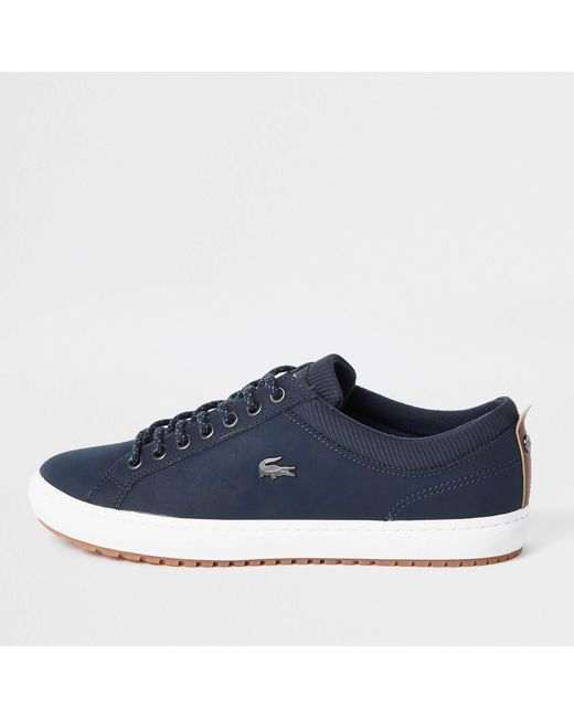 b3ad90f0d929 River Island - Blue Lacoste Navy Leather Lace-up Trainers for Men - Lyst ...